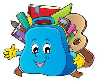 وکتور لایه باز کیف مدرسه با لوازم