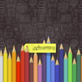وکتور لایه باز بنر آموزشی طرح مداد رنگی