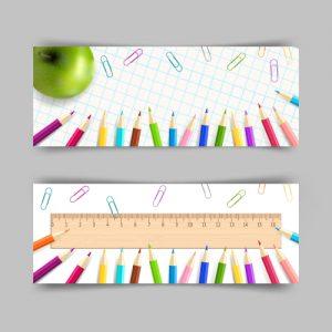 مجموعه 2 وکتور لایه باز بنر آموزشی طرح مداد رنگی