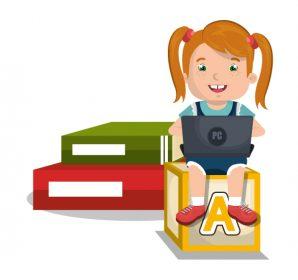 وکتور لایه باز دانش آموز دختر طرح کلاس آنلاین