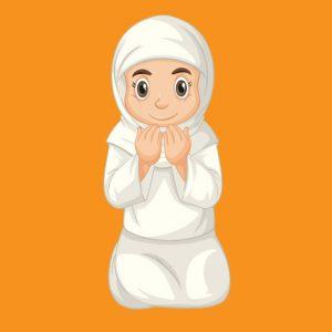 وکتور لایه باز نماز خواندن دختر مسلمان