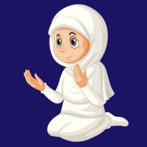 وکتور لایه باز نماز خواندن دانش آموز دختر