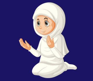 وکتور نماز خواندن دانش آموز دختر