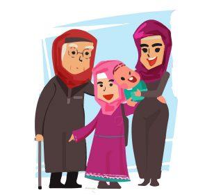 وکتور لایه باز خانواده و حجاب