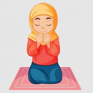 وکتور کاراکتر دختر با حجاب و دعا