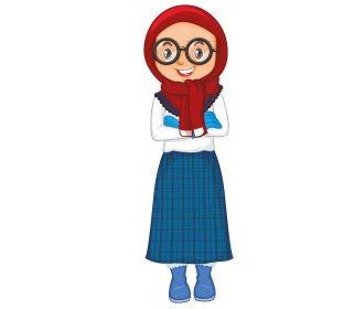 دختر با حجاب بصورت لایه باز با فرمت وکتور