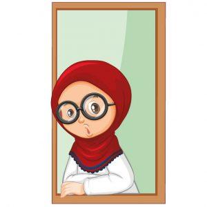 وکتور کاراکتر کارتونی دختر با حجاب