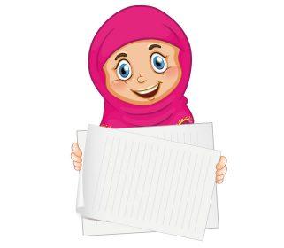 دختر با حجاب بصورت بنر آموزشی با فرمت وکتور