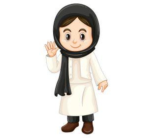 وکتور کاراکتر دختر با حجاب بصورت لایه باز