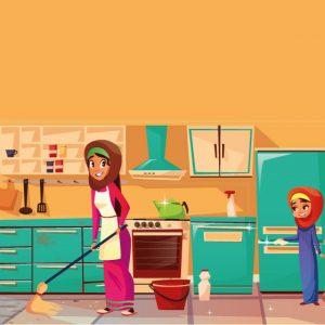 وکتور دختر با حجاب طرح نظافت منزل