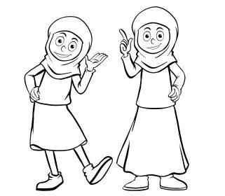 کاراکتر نقاشی دختر با حجاب با فرمت وکتور