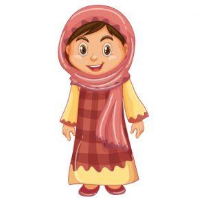 وکتور لایه باز دختر نوجوان با حجاب