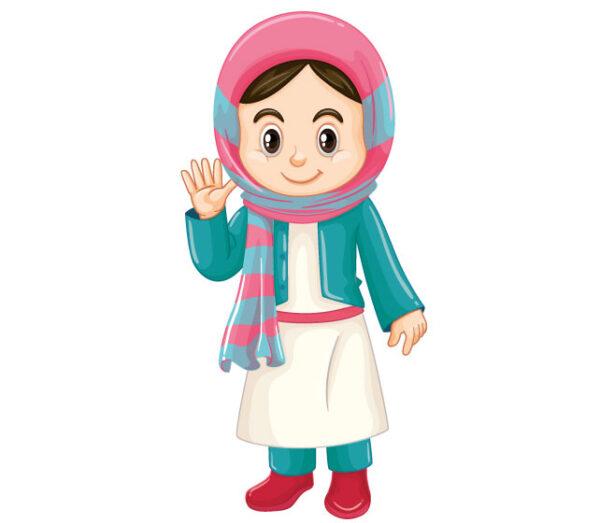 وکتور لایه باز کاراکتر دانش آموز با حجاب