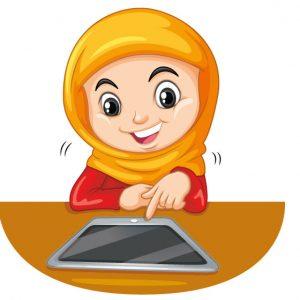 وکتور دانش آموز با حجاب طرح کلاس آنلاین