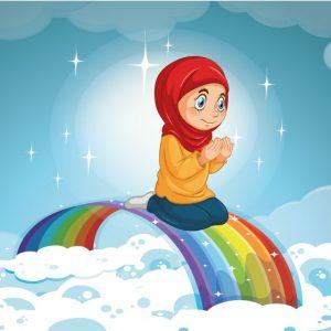 وکتور دعا کردن دختر محجبه طرح رنگین کمان