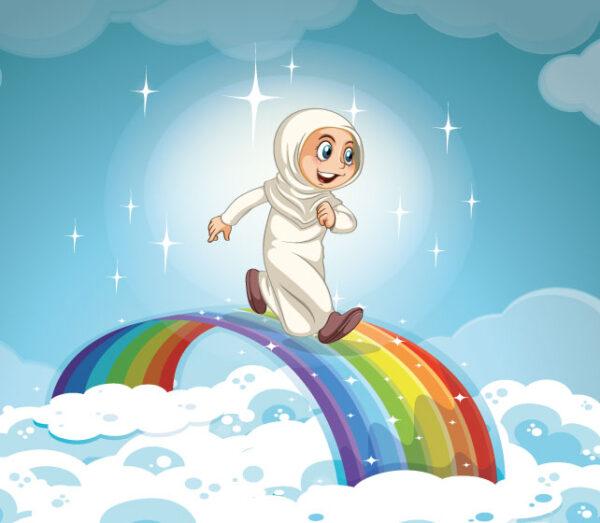 وکتور کاراکتر دختر با حجاب طرح رنگین کمان