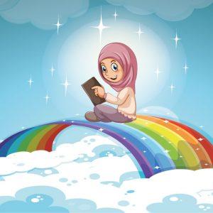 وکتور دختر با حجاب و کتاب طرح رنگین کمان